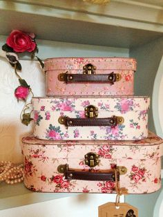 Set of 3 Vintage Rose Suitcases Storage Boxes