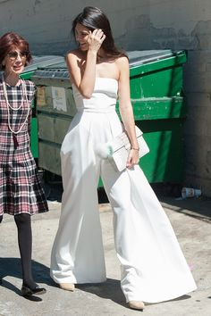 027d0f943c0 Kendall Jenner in Los Angeles wearing a strapless white jumpsuit and  Adriana Castro clutch.