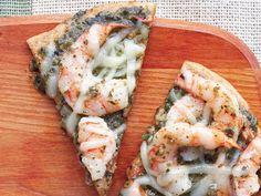 Healthified Pesto Shrimp Pizza