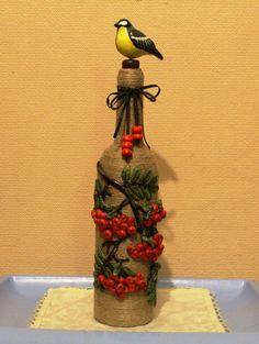 Diy Plastic Bottle, Glass Bottle Crafts, Wine Bottle Art, Painted Wine Bottles, Jute, Pottery Painting Designs, Vase Crafts, Art N Craft, Bottle Painting