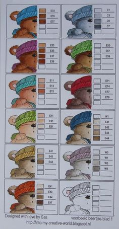 Copic Colour combinations for teddy bears, skin, eyes, hair. Copic Marker Art, Copic Pens, Copic Art, Copic Sketch, Sketch Markers, Copic Color Chart, Copic Colors, Color Charts, Prismacolor