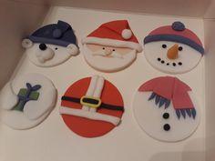Santa, Snowman and Polar Bear cupcake fondant toppers ready for cupcakes Santa Cupcakes, Bear Cupcakes, Cupcake Fondant, Fondant Cake Toppers, Christmas Cupcake Toppers, Christmas Cupcakes, Custom Cakes, Polar Bear, Cookie Decorating