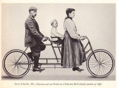 """Ignaz Schwinn and his family on a 1896 """"Family Tandem"""". Look at the child seat! Annie could have taken Max and Simon around on this!"""