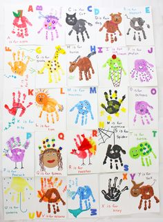 Handprint Alphabet Flashcards is part of Handprint crafts - Kids will learn the alphabet in no time with these homemade handprint alphabet flashcards! This handprint craft is a great learning tool for toddlers Toddler Arts And Crafts, Baby Crafts, Diy Crafts For Kids, Fun Crafts, Art For Kids, Hand Art Kids, Baby Footprint Crafts, Crafts For Babies, Infant Crafts
