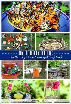 Butterfly Feeder, Diy Butterfly, Butterfly House, Butterfly Project, Butterfly Plants, Monarch Butterfly, Diy Garden Projects, Garden Crafts, Easy Projects