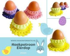 Crochet Egg Cozy, Easter Crochet, Crochet Hats, Embroidery Needles, Macarons, Crochet Necklace, Diy Crafts, Knitting, Minis