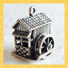 Vintage GRIST MILL ~ MECHANICAL BEAU sterling charm $68