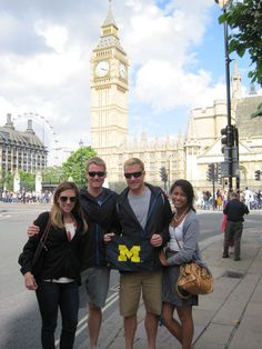Elizabeth Dukes, '08, had a wonderful time representing the Maize and Blue in Europe, including at stops in England, Turkey, and Croatia. Here, posing before Big Ben in London are, from left to right, Dukes, Alex Vanderkaay, '08, MSE'10, Dane Vanderkaay, '12, and Arlene Go, '13.