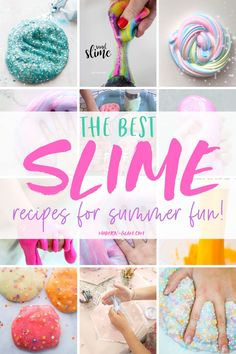 11 of the best homemade slime recipes ever! These slime recipes are perfect for summer activity ideas for kids. Unicorn slime, glitter slime, puffy slime, floam, sand slime, and how to make slime for a crowd. #slime #unicornslime #modernglam #summerslime #summer