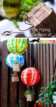 Lantern and ketupat basket: hot air balloon plant holders for teacher gifts