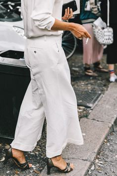 Street Style : chalk white shirt and wide leg pants || Saved by Gabby Fincham ||