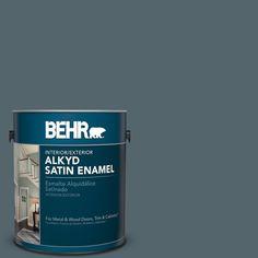 BEHR 1 gal. #N470-6 Whale Gray Satin Enamel Alkyd Interior/Exterior Paint