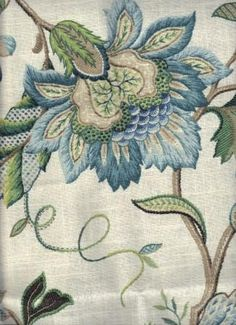 This is a very Jacobean print, I love the style of this pattern, Such detail in every part of the design. I would love cushions, on the bed made of this!. Rovi Blue - www.BeautifulFabric.com - upholstery/drapery fabric - decorator/designer fabric