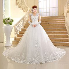 Ball Gown V-neck  Chapel Train Lace And Tulle Wedding Dress – USD $ 119.99