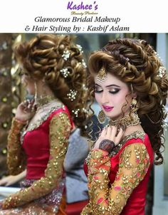 Indian Bridal Messy Hairstyles In 2020 20 Best Indian Wedding Hairstyles for Long Hair to Shine Pakistani Bridal Hairstyles, Pakistani Bridal Makeup, Bridal Hair And Makeup, Wedding Hairstyles, Hair Makeup, Bride Makeup, Wedding Makeup, Make Up Looks, Braut Make-up