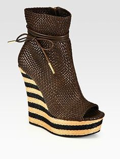 Burberry Prorsum - Woven Leather Peep Toe Wedge Ankle Boots