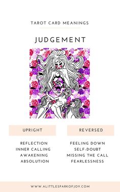 Be ready for some introspection and self-assessment of your past and current behavior if the Judgement tarot card shows up! Judgement Tarot Card, Tarot Cards Major Arcana, Grimoire Book, Tarot Card Spreads, Love Tarot, Tarot Card Meanings, Tarot Readers, Tarot Decks, Meant To Be