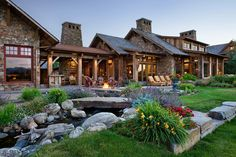 Old timber frame rustic-modern barn built from the reclaimed wood of older structures by RMT Architecture is nestled in the Swan Mountain Range, Montana. Modern Barn, Modern Rustic, Rustic Wood, Rustic Elegance, Rustic Office, Rustic Chair, Rustic Bench, Rustic Shelves, Rustic Industrial