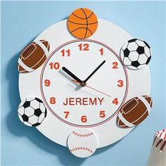 Sports Clock - Personalized Gifts for Kids   Lillian Vernon