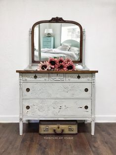 Dresser Furniture, Farmhouse Bedroom Furniture, Paint Furniture, Furniture Decor, Farmhouse Dressers, Dresser Refinish, Furniture Design, Funky Furniture, Diy Dresser Makeover