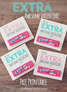 """Extra"" awesome Valentine's Day gift idea and free printable. Grab some small packs of Extra Gum and you can re-create these cute Valentines using Avery Business Cards and free Valentine's designs and printables at avery.com/valentinesday."