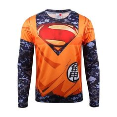 062cc87a6aa45 Superman Goku Mashup Long Sleeve Compression Shirt Super Hero Shirts