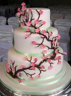 'Cherry Tree' wedding cake