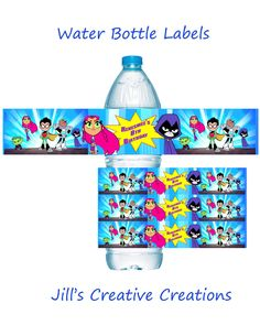Teen Titans To Go Water Bottle Labels