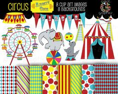 printable circus signs | Printable Circus clip art and digital background papers, great for ...