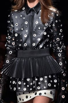 Leather peplum dress with scattered eyelets; fashion details // Emanuel Ungaro Fall 2015