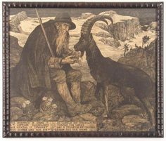 {Matthäus Schiestl, (1869-1939), Sitting Old Shepherd Feeding A Goat, 1900}