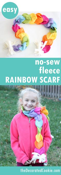no sew fleece rainbow scarf, great homemade gift idea for kids