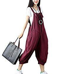 4271f9d4ce Flygo Women s Loose Baggy Cotton Wide Leg Jumpsuits Rompers Overalls Harem  Pants – BABIES ITEMS