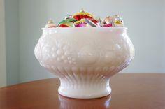 Vintage Jeannette Milk Glass Fruit Embossed by CobblestonesVintage