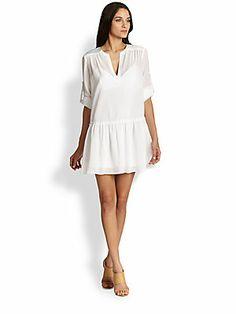 BCBGMAXAZRIA Lauryn Cotton Gauze Peasant Dress