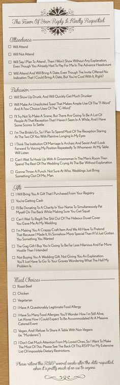 Honest Wedding Invitation    to share with Steve     at least everyone would laugh