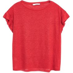 Mango Linen T-Shirt, Red ($23) ❤ liked on Polyvore featuring tops, t-shirts, shirts, blusas, red short sleeve shirt, red shirt, short sleeve t shirts, lightweight t shirts and red linen shirt