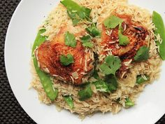 Coconut Rice With Chicken Thighs  Might need 1/2C chicken stock as rice takes a while to cook.