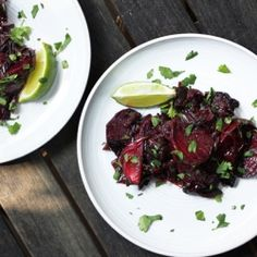 Vibrant beets are roasted with poblanos, red onion, olive oil & Worcestershire then finished with lime & cilantro.