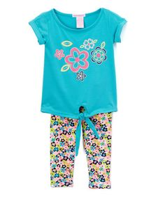Love this Mint Flower Tie-Front Tee & Leggings - Infant, Toddler & Girls on #zulily! #zulilyfinds