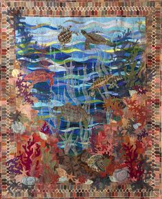 """Turtle Bay"" by Claudia Pfeil via The Quilt Show Ocean Quilt, Beach Quilt, Fish Quilt, Longarm Quilting, Machine Quilting, Quilting Projects, Quilting Ideas, Art Quilting, Crazy Quilting"
