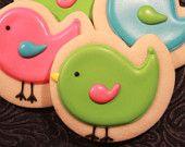 Birdie Cookies - love this style of birdie, so cute!