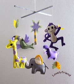 Baby Crib Mobile - Baby Mobile - Felt Mobile - Nursery mobile - Purple Jungle Theme tropical bird Mobile (Custom color available)