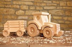 Wooden Farm Tractor and Wagon by KringleWorkshops on Etsy, $70.00