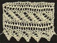 Free knitting pattern for a diagonal striped lace edging. Updated for modern knitters from the Victorian original, charted and test knit.