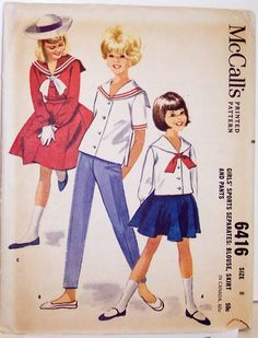 Vintage McCalls Pattern 6416 Girls size 8 Sailor Suit Blouse and Pants Nautical Vintage Outfits, Vintage Girls Dresses, Vintage Dress Patterns, Clothing Patterns, Vintage Fashion, Fifties Fashion, Sailor Outfits, Sailor Dress, Sailor Shirt