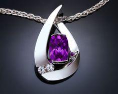 amethyst necklace, February birthstone, amethyst pendant, purple, anniversary gift, fine jewelry, artisan necklace - 3378