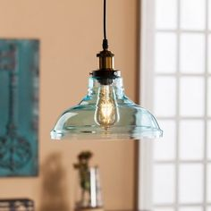 modern farmhouse glass pendant lamp / /Narini Colored Glass Bell Pendant Lamp