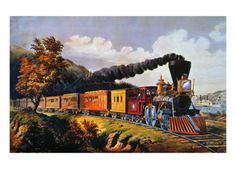 Giclee Print: American Express Train Wall Art by Currier & Ives : Vintage Prints, Vintage Art, Vintage Posters, Train Art, Old Trains, Train Pictures, Currier And Ives, Thing 1, Poster Prints