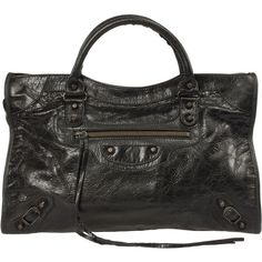 Balenciaga Classic City Medium Lambskin Hand Carry and Shoulder Bag... (7.595 DKK) ❤ liked on Polyvore featuring bags, handbags, shoulder bags, balenciaga, black tote bag, black purse, long strap purse, shoulder strap handbags and zip top tote bag